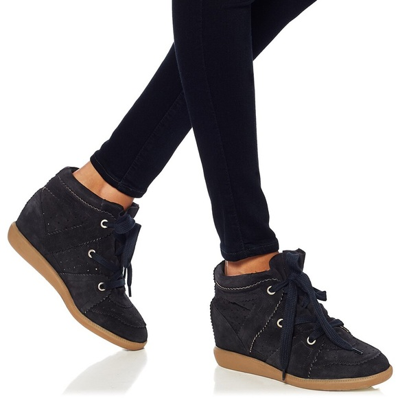 3c4a24250db1 Isabel Marant Shoes - Isabel Marant Bobby Black Suede Wedge Sneakers